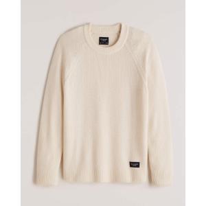 アバクロ クルーネックセーター メンズ ケーブル ニット オフホワイト|trendcruising