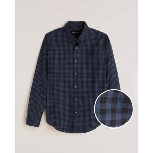 アバクロ オックスフォードシャツ メンズ  長袖 シャツ ブルー|trendcruising