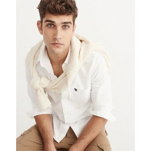 アバクロ オックスフォードシャツ メンズ  長袖 シャツ ホワイト 大きいサイズ xl xxl xxxl アウトドア おしゃれ ホリスター|trendcruising