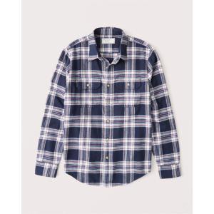 アバクロ オックスフォードシャツ メンズ  長袖 シャツ レッドオレンジ|trendcruising