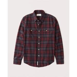 アバクロ オックスフォードシャツ メンズ  長袖 シャツ コーラル|trendcruising