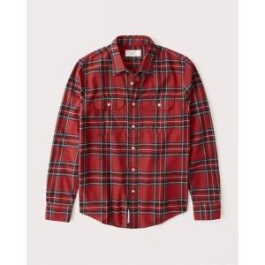 アバクロ チェックシャツ メンズ  長袖 パープル|trendcruising