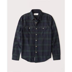アバクロ チェックシャツ メンズ  長袖 グリーン&ブルー|trendcruising