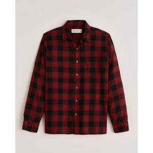アバクロ チェックシャツ メンズ  長袖 ライトブルー|trendcruising