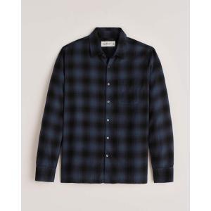 アバクロ チェックシャツ メンズ  長袖 バーガンディー|trendcruising