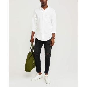 アバクロ チェックシャツ メンズ  長袖 ネイビー|trendcruising