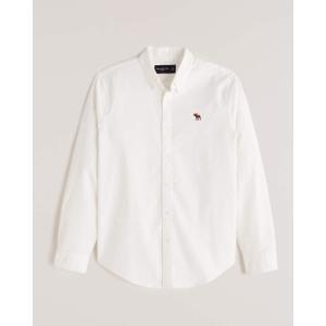 アバクロ オックスフォードシャツ メンズ  長袖 ストライプ ホワイト|trendcruising