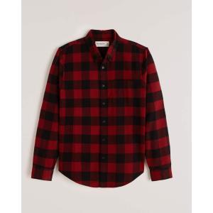 アバクロ チェックシャツ メンズ  長袖 シャツ バーガンディー ホリスター アメリカンイーグル 大きいサイズ XL XXL XXXL|trendcruising