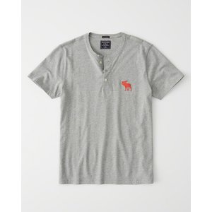 アバクロ ヘンリーネックTシャツ  メンズ 半袖  ホワイト|trendcruising