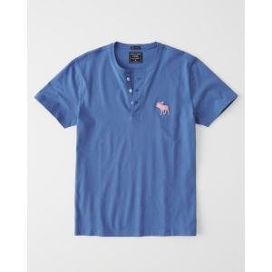 アバクロ ヘンリーネックTシャツ  メンズ 半袖  ブルー|trendcruising