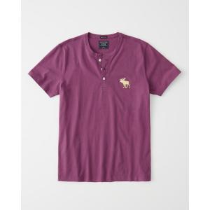 アバクロ ヘンリーネックTシャツ  メンズ 半袖  パープル|trendcruising