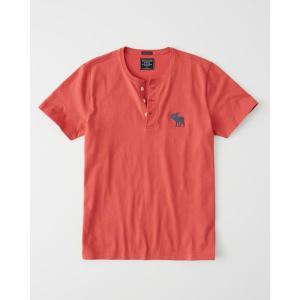 アバクロ ヘンリーネックTシャツ  メンズ 半袖  レッド|trendcruising