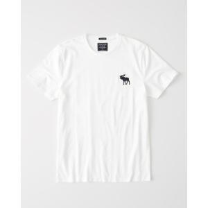 アバクロ クルーネックTシャツ  メンズ 半袖  ホワイト|trendcruising