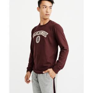 アバクロ ロンT クルーネックTシャツ  メンズ 長袖 バーガンディー|trendcruising