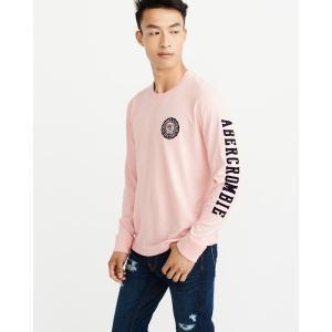 アバクロ ロンT クルーネックTシャツ  メンズ 長袖 ピンク|trendcruising