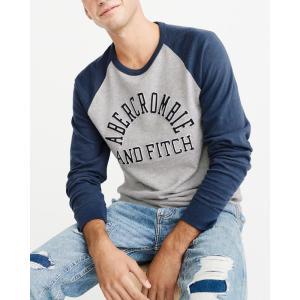 アバクロ ロンT クルーネックTシャツ  メンズ 長袖 グレー|trendcruising