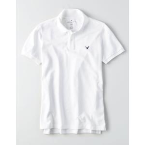 アメリカンイーグル ポロシャツ メンズ 半袖 AE Solid Pique Flex Polo ホワイト 大きいサイズxl xxl xxxl アンダーアーマー trendcruising