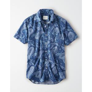 アメリカンイーグル デニムシャツ  メンズ 長袖 ウォッシュドブルー|trendcruising