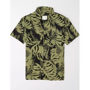アメリカンイーグル シャツ  メンズ AE Linen Popover ブルー|trendcruising