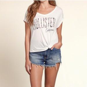 ホリスター レディース Tシャツ ホワイト Floral Logo Graphic Tee|trendcruising