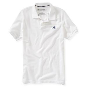 エアロポステール ポロシャツ メンズ /アメカジ/アメリカンイーグル/半袖ポロシャツ/AEROPOSTALE/大きいサイズ/A87 Solid Logo Piqu? Polo/ホワイト trendcruising