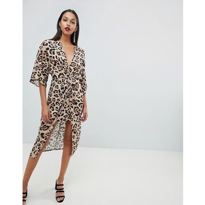 エイソス ドレス ワンピース レディース  ASOS DESIGN satin kimono midi dress in animal print|trendcruising