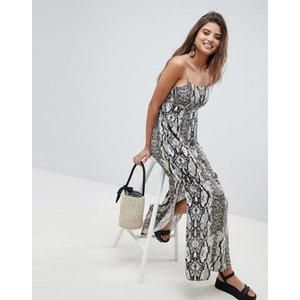 エイソス ドレス ワンピース レディース  ASOS DESIGN smock pleated maxi dress in snake print|trendcruising