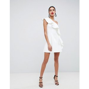 エイソス ドレス ワンピース レディース  ASOS DESIGN one shoulder ruffle a-line mini dress|trendcruising