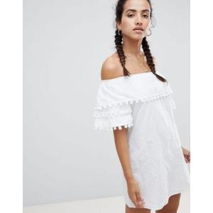 エイソスセレクト ドレス ワンピース レディース  PrettyLittleThing Pom Trim Bardot Dress|trendcruising
