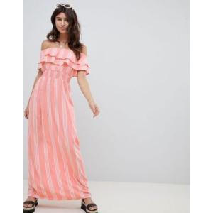 エイソスセレクト ドレス ワンピース レディース  PrettyLittleThing Striped Bardot Maxi Dress|trendcruising