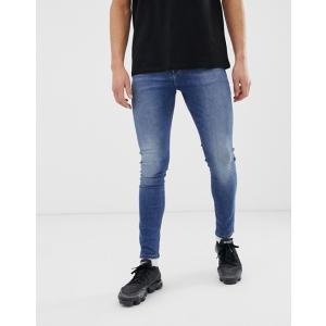エイソス スキニージーンズ メンズ デニム ASOS Skinny Jeans In 12.5oz Mid Blue ブルー 大きいサイズ バイカー おしゃれ 人気 キャンプ ナイキ アディダス|trendcruising