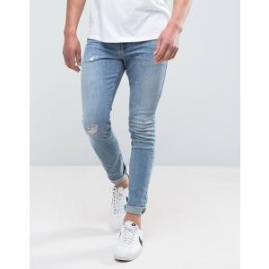 エイソス スキニージーンズ メンズ デニム ASOS Skinny Jeans With Knee Rips In 12.5oz True Black ブラック 大きいサイズ バイカー おしゃれ 人気  バンズ|trendcruising