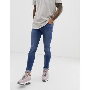 エイソス スキニージーンズ メンズ デニム ASOS Skinny Jeans In Mid Wash With Heavy Rips ブルー 大きいサイズ バイカー おしゃれ 人気 キャンプ バンズ|trendcruising