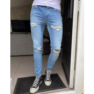 エイソス スーパースキニー ジーンズ メンズ デニム ブルー ASOS Extreme Super Skinny Jeans In Mid Blue おしゃれ バイカー|trendcruising
