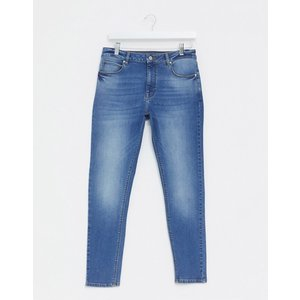 エイソス スーパースキニー ジーンズ メンズ デニム ブルー ASOS Extreme Super Skinny Jeans With Open Rips In Mid Blue|trendcruising