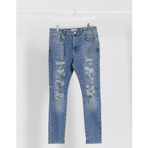 エイソス スーパースキニー ジーンズ メンズ デニム ダークブルー ASOS Extreme Super Skinny Jeans In Dark Wash おしゃれ バイカー|trendcruising
