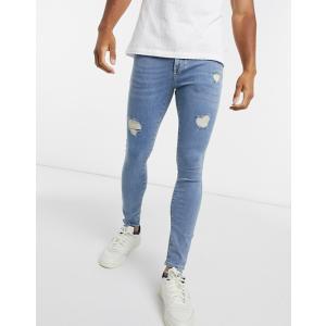 エイソス スーパースキニー ジーンズ メンズ デニム ブラック ASOS Extreme Super Skinny Jeans In Washed Black おしゃれ バイカー|trendcruising