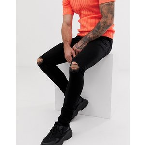 エイソス スーパースキニー ジーンズ メンズ デニム ダークブルー ASOS Extreme Super Skinny Jeans In Dark Blue おしゃれ バイカー|trendcruising