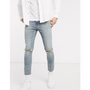 エイソス スーパースキニー ジーンズ  メンズ デニム ブルー ASOS Super Skinny Jeans In Vintage Mid Wash Blue|trendcruising