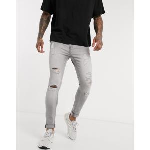 エイソス スーパースキニー ジーンズ  メンズ デニム ブルー ASOS Super Spray On Jeans In Mid Blue ホリスター おしゃれ 大きいサイズ|trendcruising