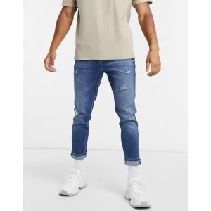 エイソス スーパースキニー ジーンズ  メンズ デニム ブルー  ASOS Super Skinny Jeans In Retro Mid Wash ホリスター おしゃれ 大きいサイズ|trendcruising
