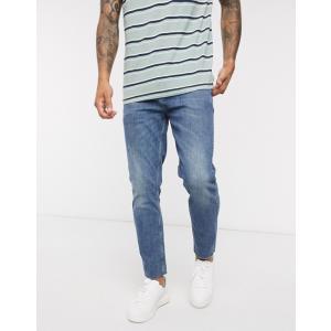 エイソス スーパースキニー ジーンズ  メンズ デニム ブルー ASOS Super Skinny Jeans In Dark Wash Blue ホリスター おしゃれ 大きいサイズ|trendcruising