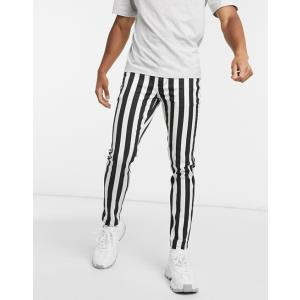 エイソス スーパースキニー ジーンズ  メンズ デニム  ASOS Super Skinny Jeans In Mid Wash With Cargo Pockets|trendcruising