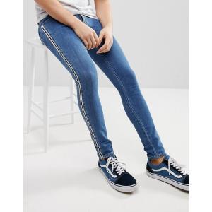 エイソス エクストリーム スーパー スキニー ジーンズ メンズ ブルー ASOS Extreme Super Skinny Jeans In Mid Wash Blue With Side Stripe|trendcruising