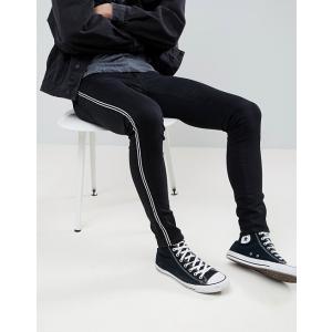 エイソス エクストリーム スーパー スキニー ジーンズ メンズ ブラック ASOS Extreme Super Skinny Jeans In Black With Side Stripe ホリスター|trendcruising