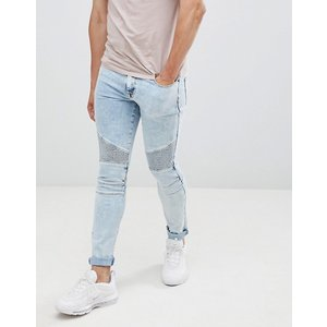 エイソス スーパー スキニー ジーンズ メンズ ブリーチ ASOS DESIGN extreme super skinny biker in bleach wash blue|trendcruising