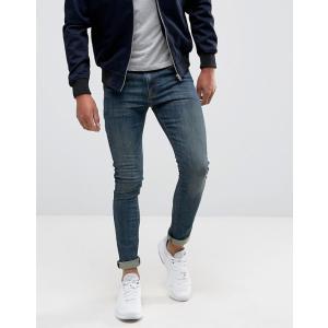 エイソス スーパースキニージーンズ メンズ デニム ASOS Skinny Jeans In Mid Wash Blue ブルー バイカー ハーレー おしゃれ 人気 大きいサイズ|trendcruising