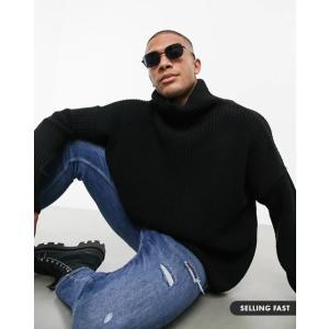 エイソスセレクト カーディガン メンズ セーター ニット ASOS Textured Lightweight Cardigan In Charcoal|trendcruising