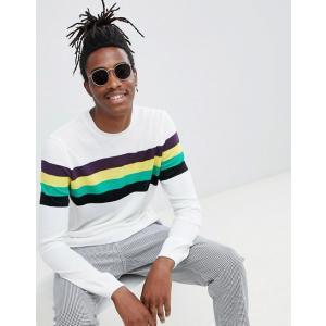 エイソス セーター メンズ ホワイト ASOS DESIGN jumper with chest stripes in white trendcruising
