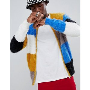 エイソス ボンバージャケット セーター メンズ カーディガン ASOS DESIGN Knitted Bomber Jacket In Fluffy Colour Blocked Yarn trendcruising